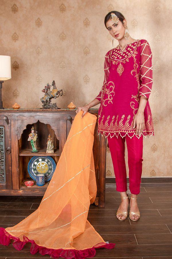 Buy Exclusive Magenta & Orange Party Wear – Sds374 Online In USA, Uk & Pakistan - 03