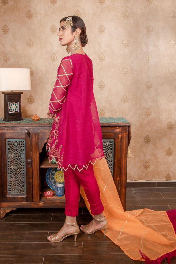 Buy Exclusive Magenta & Orange Party Wear – Sds374 Online In USA, Uk & Pakistan - 02