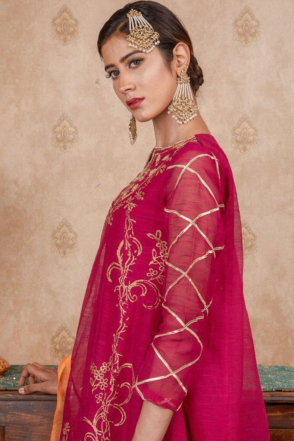 Buy Exclusive Magenta & Orange Party Wear – Sds374 Online In USA, Uk & Pakistan - 01