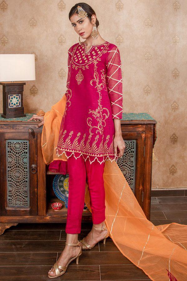 Buy Exclusive Magenta & Orange Party Wear – Sds374 Online In USA, Uk & Pakistan