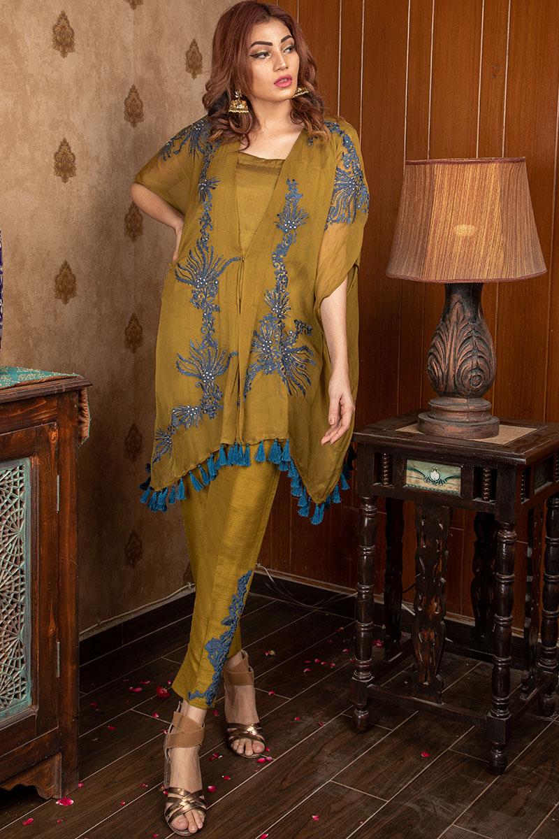 Buy Exclusive Mehndi Green Party Wear – Sds375 Online In USA, Uk & Pakistan - 03