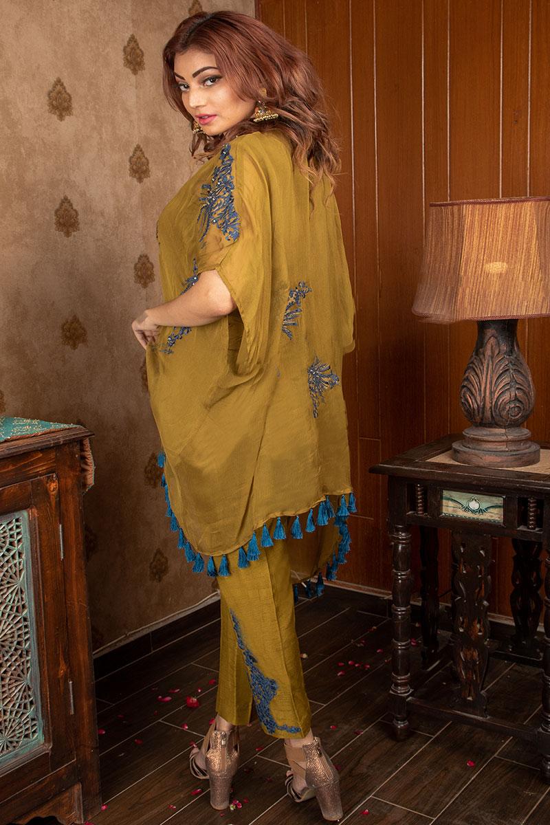 Buy Exclusive Mehndi Green Party Wear – Sds375 Online In USA, Uk & Pakistan - 02