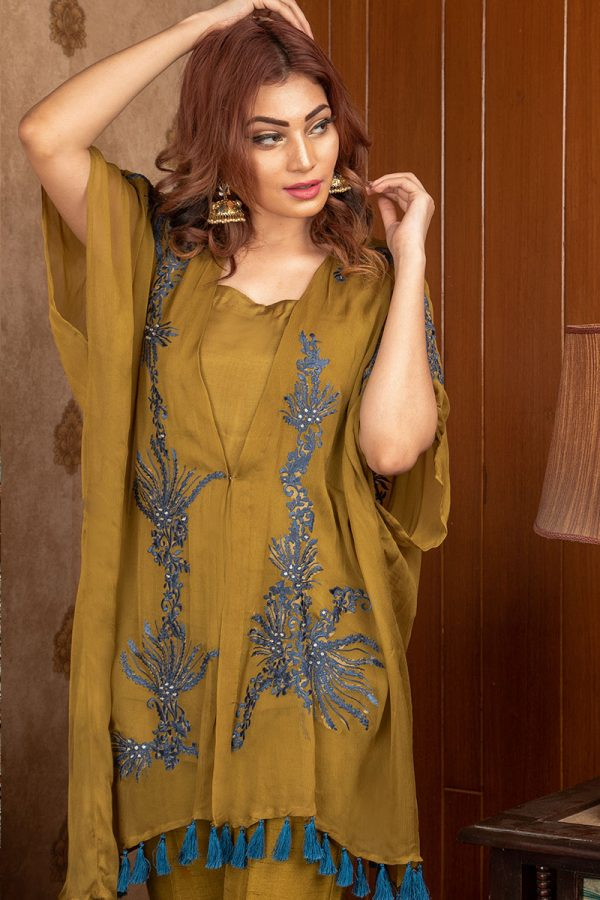 Buy Exclusive Mehndi Green Party Wear – Sds375 Online In USA, Uk & Pakistan - 01