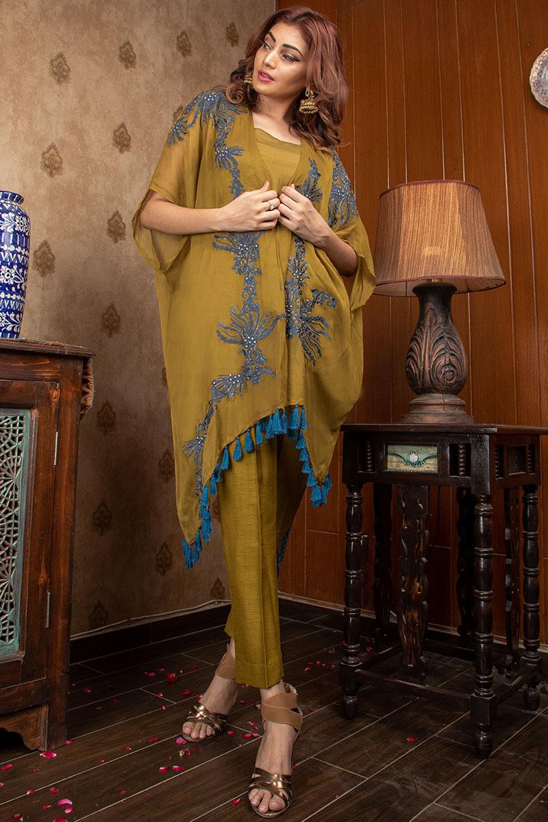 Buy Exclusive Mehndi Green Party Wear – Sds375 Online In USA, Uk & Pakistan