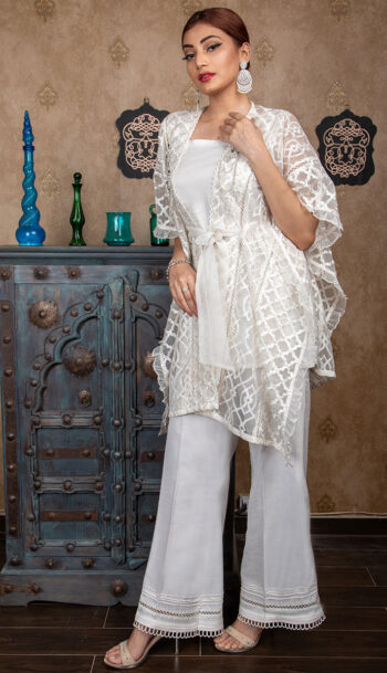 Buy Exclusive Off-White Party Wear – Sds383 Online In USA, Uk & Pakistan - 02