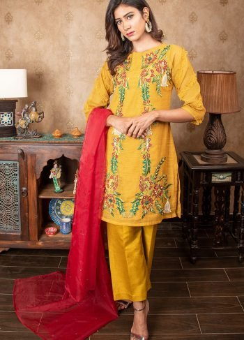 Buy Exclusive MUSAtard & Red Party Wear – Sds384 Online In USA, Uk & Pakistan - 02