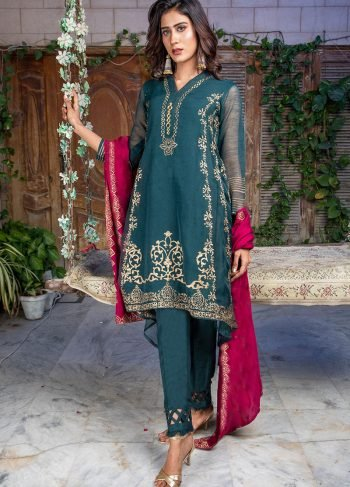 Buy Exclusive Dark Green & Deep Purple Party Wear – Sds388 Online In USA, Uk & Pakistan - 02