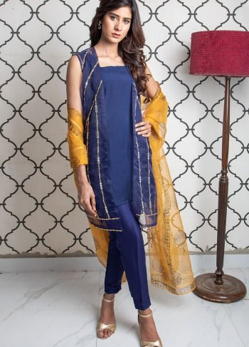 BLUE & MUSTARD PARTY WEAR