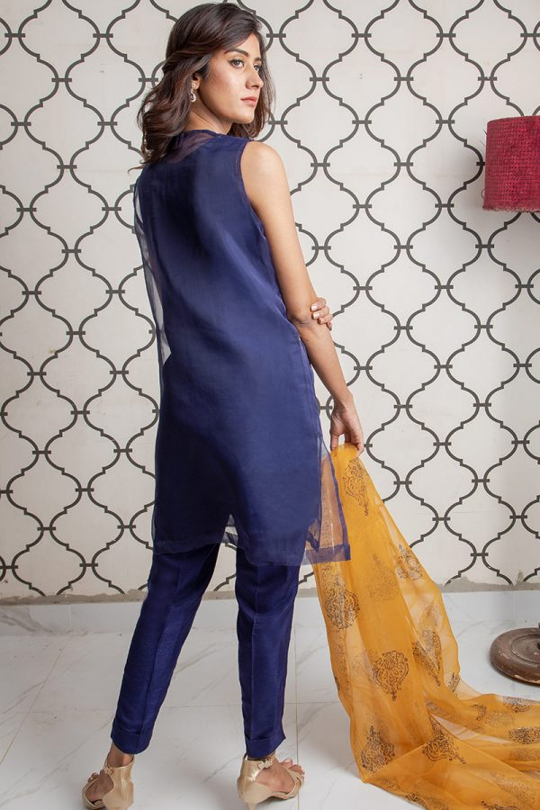 Buy Exclusive Blue & MUSAtard Party Wear – Sds393 Online In USA, Uk & Pakistan - 01