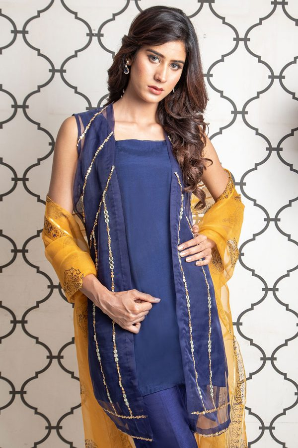 Buy Exclusive Blue & MUSAtard Party Wear – Sds393 Online In USA, Uk & Pakistan