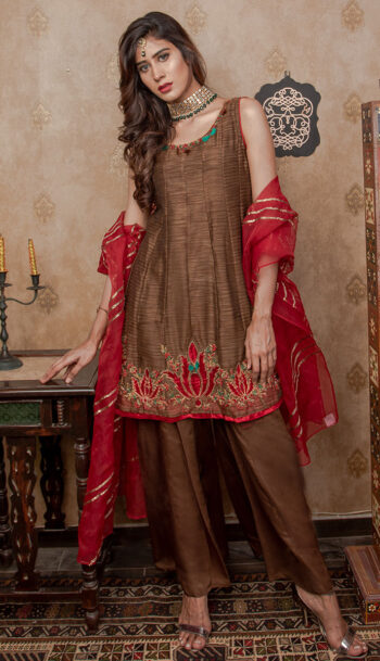 BROWN & RED COLOUR LUXURY PRET