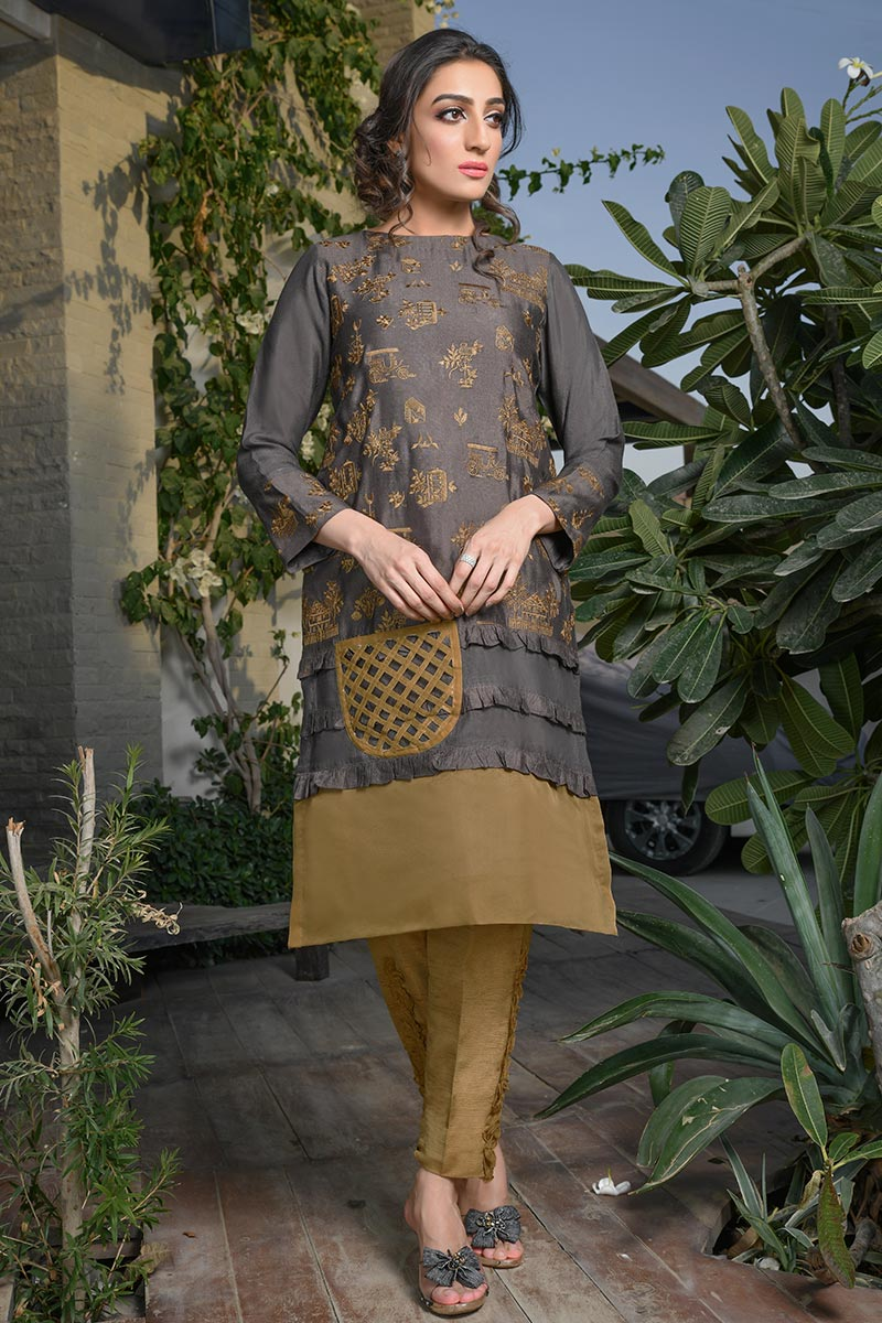 Buy Exclusive Deep Brown Color Dress – Afc21 Online In USA, Uk & Pakistan - 02