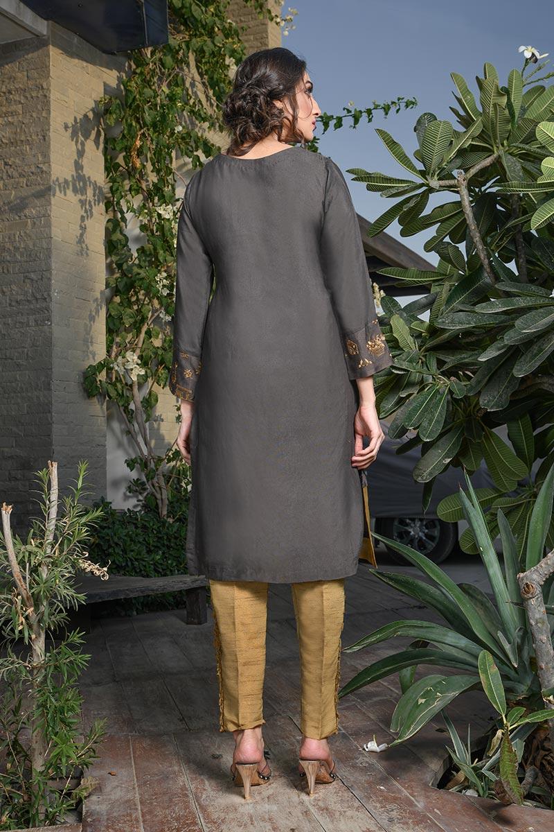 Buy Exclusive Deep Brown Color Dress – Afc21 Online In USA, Uk & Pakistan - 01