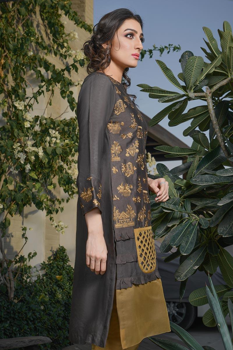 Buy Exclusive Deep Brown Color Dress – Afc21 Online In USA, Uk & Pakistan