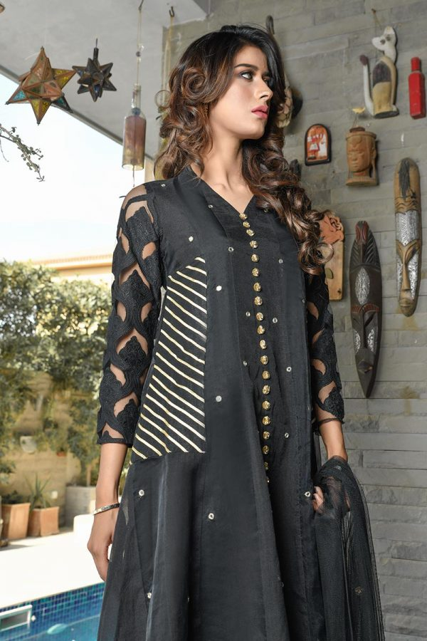 Buy Exclusive Black Party Wear – Aqs218 Online In USA, Uk & Pakistan - 02