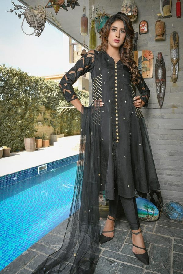 Buy Exclusive Black Party Wear – Aqs218 Online In USA, Uk & Pakistan - 03
