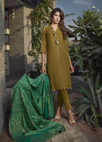 Buy Exclusive Mehndi Green Party Wear – Aqs266 Online In USA, Uk & Pakistan - 01