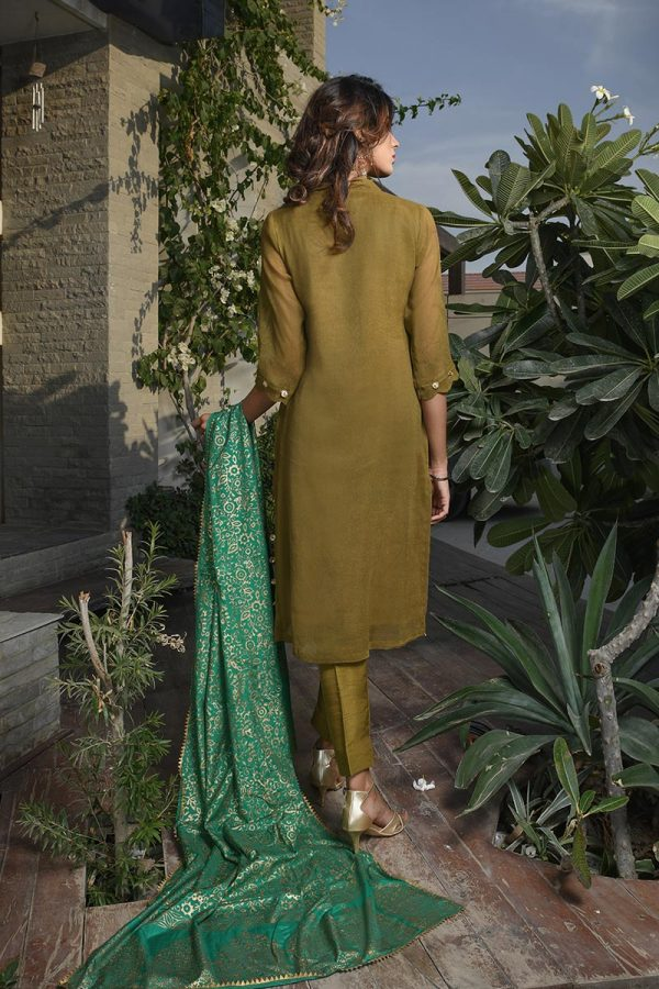 Buy Exclusive Mehndi Green Party Wear – Aqs266 Online In USA, Uk & Pakistan - 02