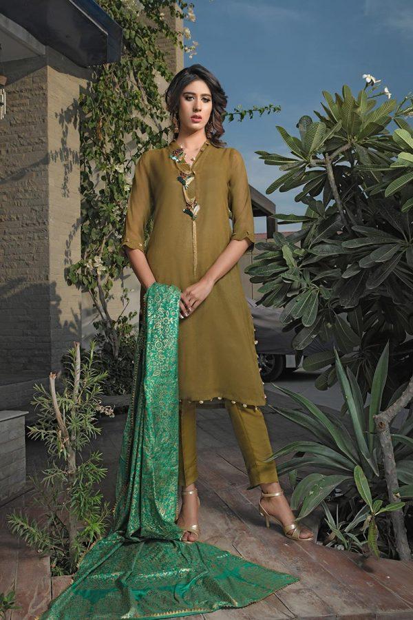Buy Exclusive Mehndi Green Party Wear – Aqs266 Online In USA, Uk & Pakistan - 03
