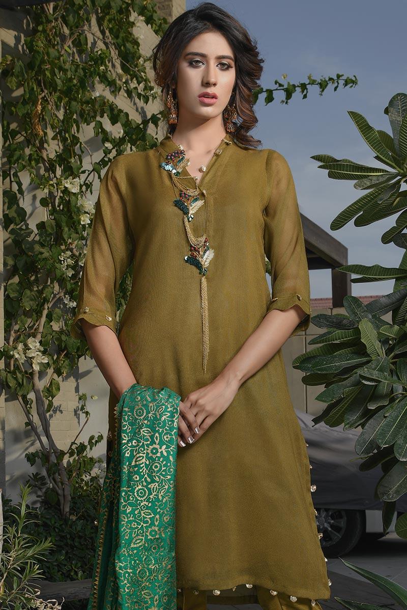 Buy Exclusive Mehndi Green Party Wear – Aqs266 Online In USA, Uk & Pakistan - 04