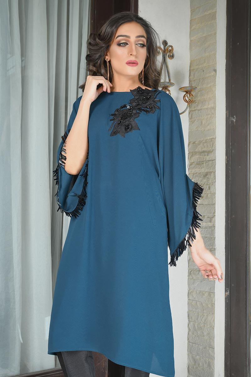 Buy Exclusive Teal Party Wear – Aqs298 Online In USA, Uk & Pakistan - 02