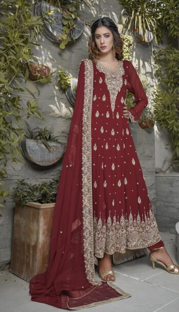 Buy Exclusive Maroon Bridal Wear – G19662 Online In USA, Uk & Pakistan