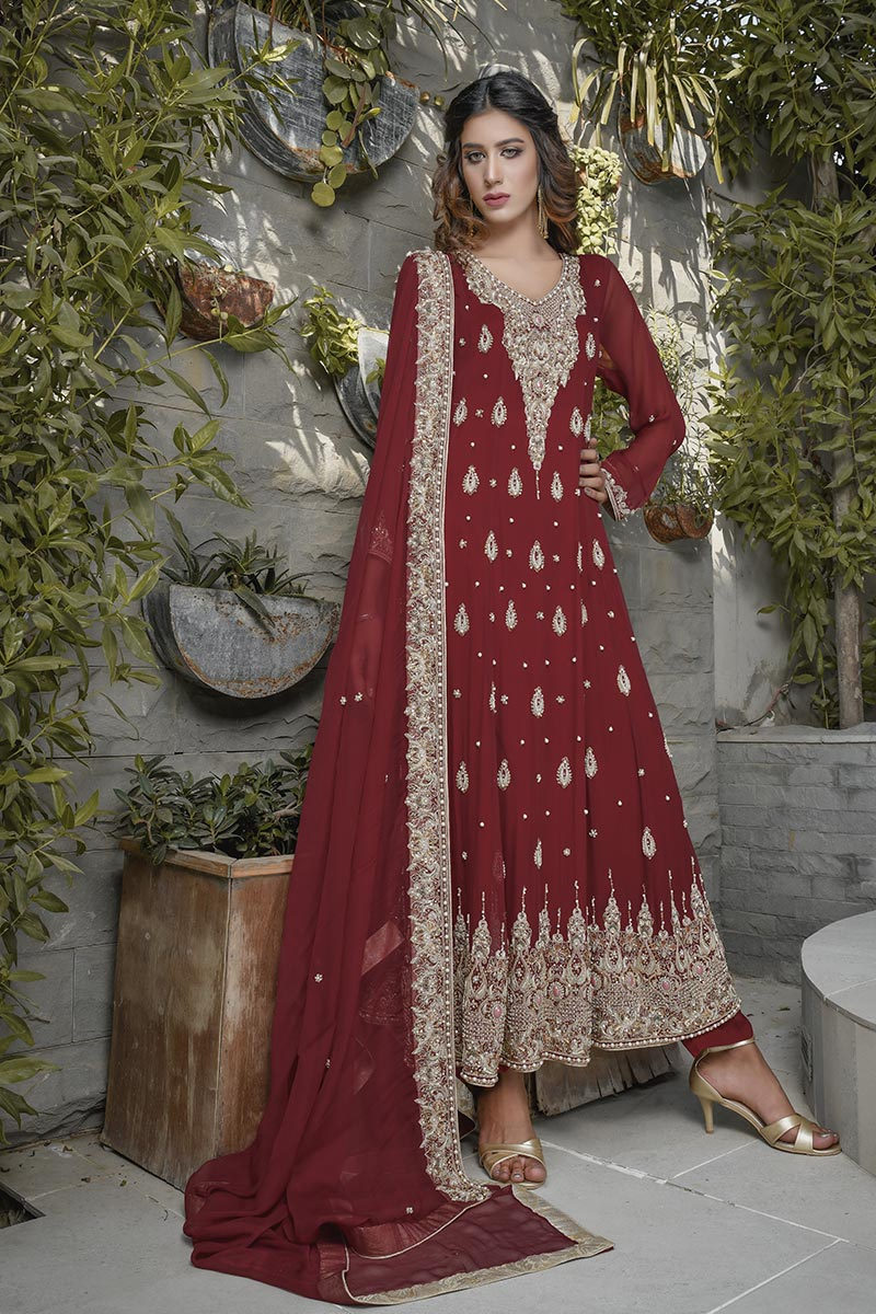 Buy Exclusive Maroon Bridal Wear – G19662 Online In USA, Uk & Pakistan