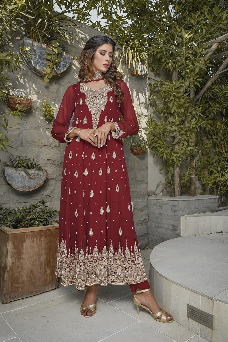 Buy Exclusive Maroon Bridal Wear – G19662 Online In USA, Uk & Pakistan - 03
