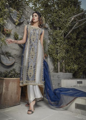 BLUE AND SILVER BRIDAL WEAR