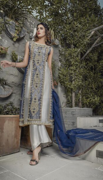 Buy Exclusive Blue And Silver Bridal Wear – G20747 Online In USA, Uk & Pakistan