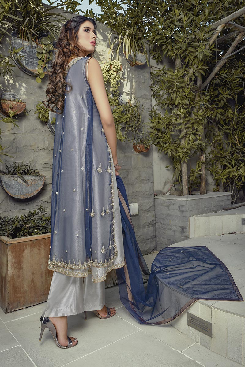 Buy Exclusive Blue And Silver Bridal Wear – G20747 Online In USA, Uk & Pakistan - 01