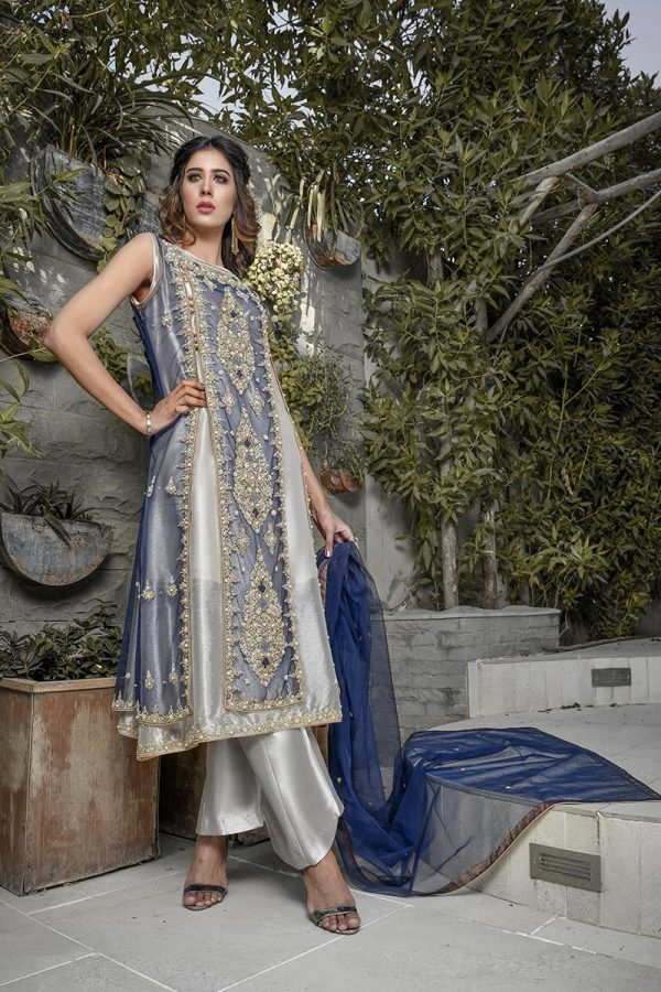 Buy Exclusive Blue And Silver Bridal Wear – G20747 Online In USA, Uk & Pakistan - 02
