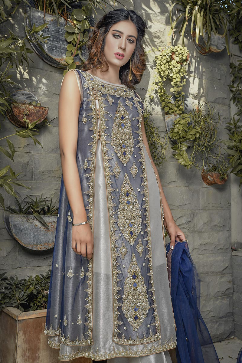 Buy Exclusive Blue And Silver Bridal Wear – G20747 Online In USA, Uk & Pakistan - 03