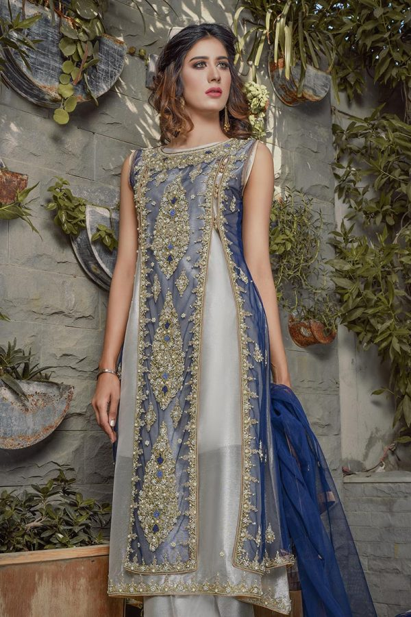 Buy Exclusive Blue And Silver Bridal Wear – G20747 Online In USA, Uk & Pakistan - 04