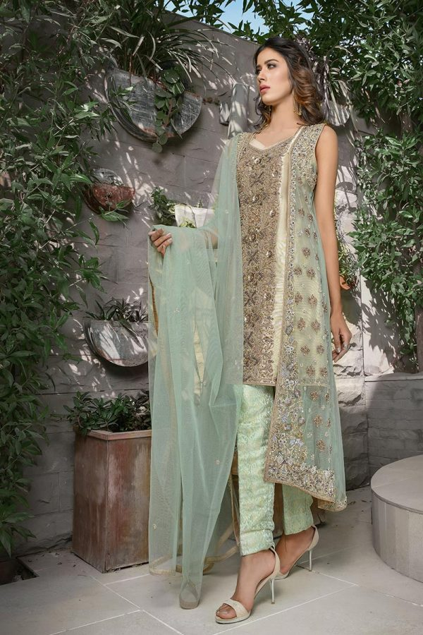Buy Exclusive Mint Green And Skin Bridal Wear – G21119 Online In USA, Uk & Pakistan - 02