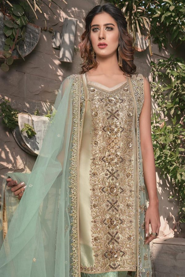 Buy Exclusive Mint Green And Skin Bridal Wear – G21119 Online In USA, Uk & Pakistan - 03