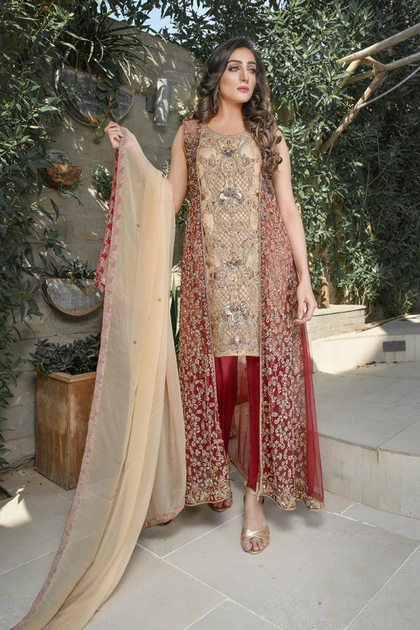 MAROON AND GOLD BRIDAL WEAR