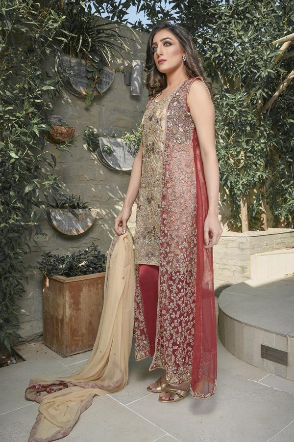 Buy Exclusive Maroon And Gold Bridal Wear – G21541 Online In USA, Uk & Pakistan - 02