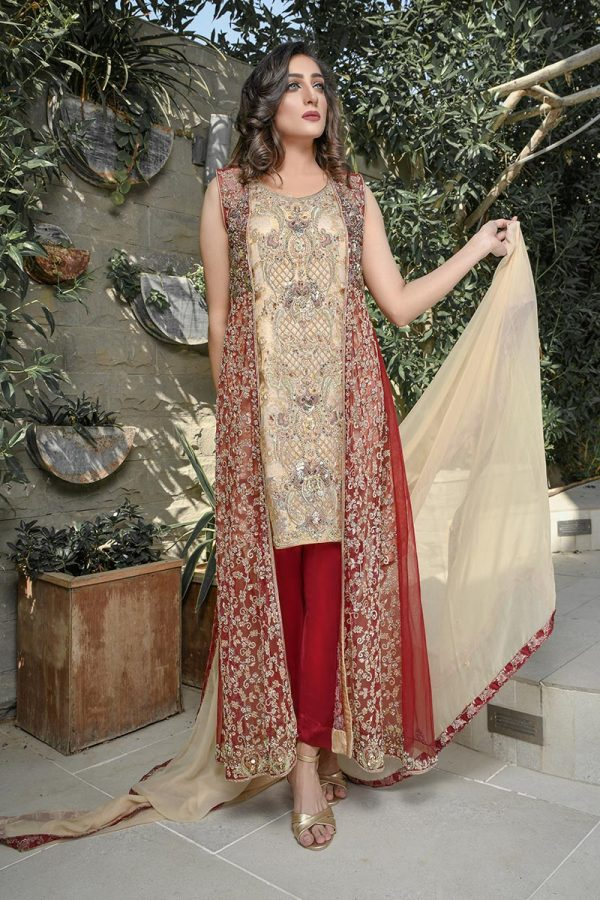 Buy Exclusive Maroon And Gold Bridal Wear – G21541 Online In USA, Uk & Pakistan - 03