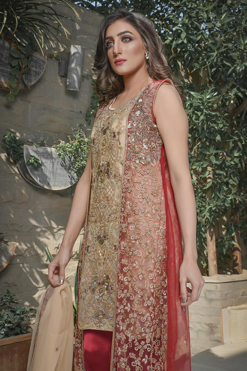 Buy Exclusive Maroon And Gold Bridal Wear – G21541 Online In USA, Uk & Pakistan - 04