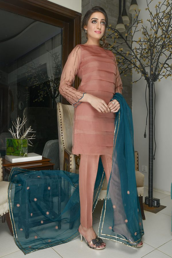 Buy Exclusive Tea Pink Party Wear – Sds381 Online In USA, Uk & Pakistan - 03