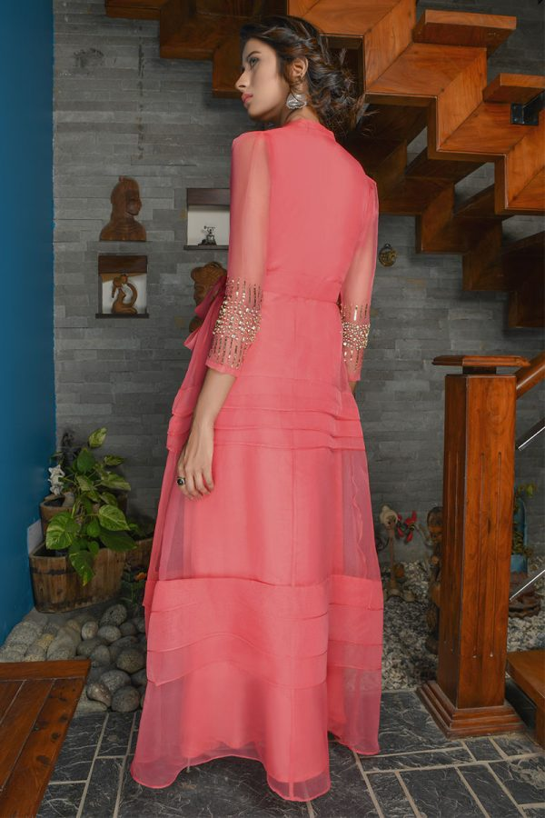 Buy Exclusive Coral Party Wear – Sds389 Online In USA, Uk & Pakistan - 01