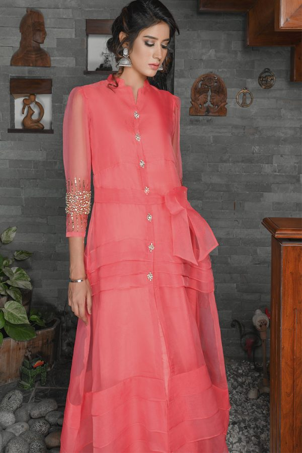 Buy Exclusive Coral Party Wear – Sds389 Online In USA, Uk & Pakistan - 02