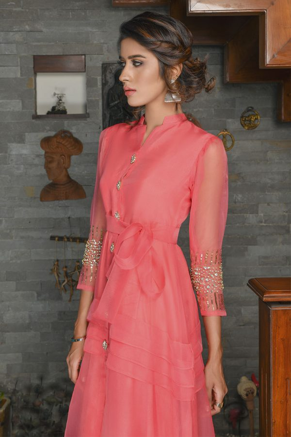 Buy Exclusive Coral Party Wear – Sds389 Online In USA, Uk & Pakistan - 03