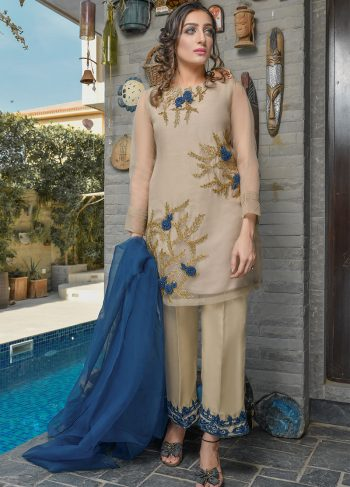 Buy Exclusive Beige And Blue Luxury Pret – Sds402 Online In USA, Uk & Pakistan