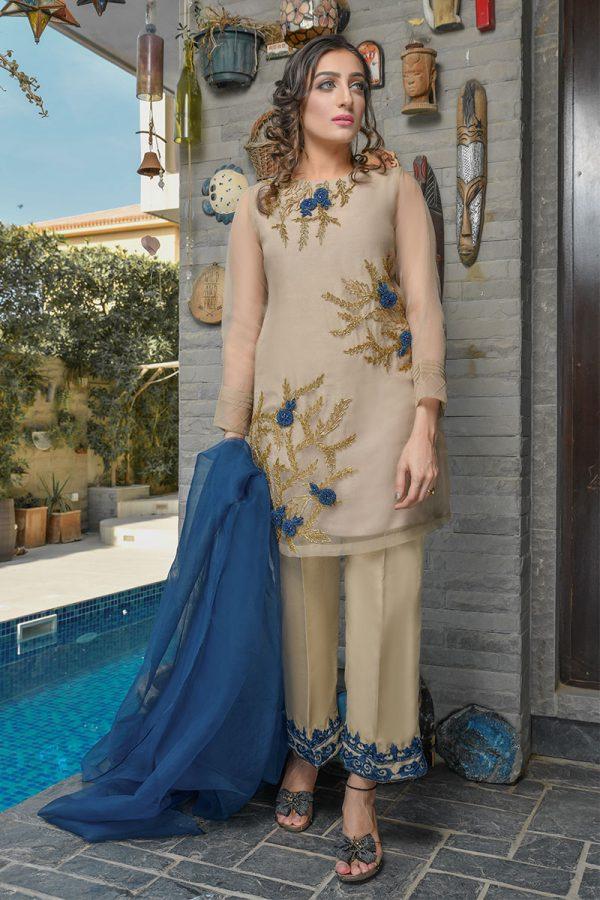 Buy Exclusive Beige And Blue Luxury Pret – Sds402 Online In USA, Uk & Pakistan