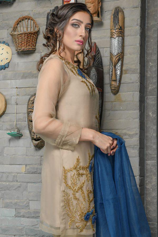 Buy Exclusive Beige And Blue Luxury Pret – Sds402 Online In USA, Uk & Pakistan - 02