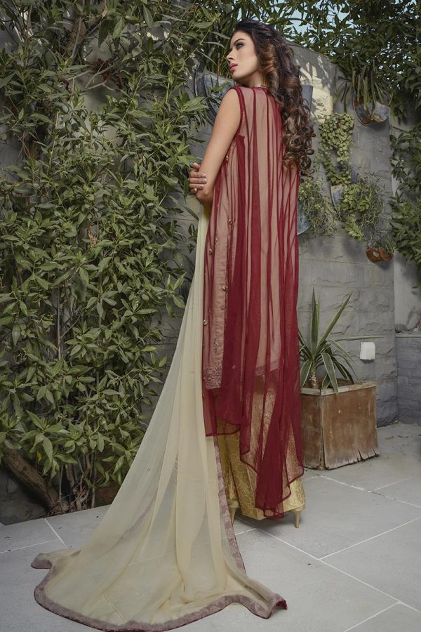 Buy Exclusive Maroon And Gold Bridal Wear – G16520 Online In USA, Uk & Pakistan - 02