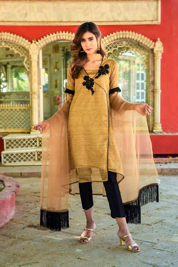 ANTIQUE GOLD AND BLACK PARTY WEAR