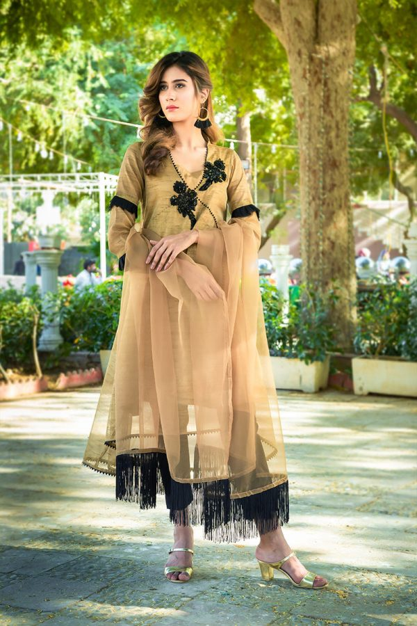 EXCLUSIVE ANTIQUE GOLD AND BLACK PARTY WEAR